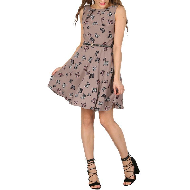 Apricot Beige Butterfly Print Skater Dress, Womens, Size: