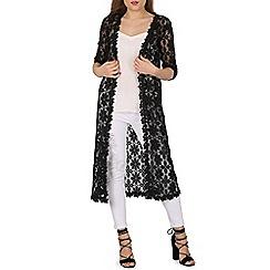 Izabel London - Black embroidered lace cardigan