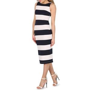 Izabel London Navy (Blue) Low Back Stripe Bodycon Dress