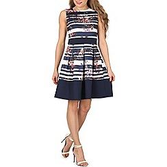 Izabel London - Navy stripe print fit & flare dress