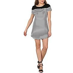 Izabel London - Black t-shirt dress with stripe print