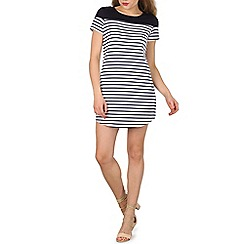 Izabel London - White t-shirt dress with stripe print