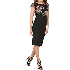 Izabel London - Black floral top print textured skirt bodycon dress