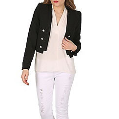 Izabel London - Black pointed shoulder cropped jacket