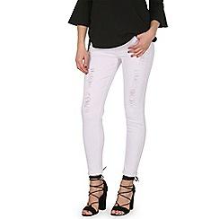 Izabel London - White skinny distressed denim jeans