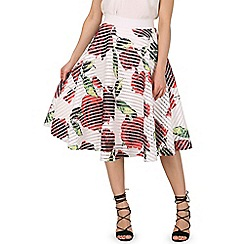 Izabel London - White rose print skater skirt