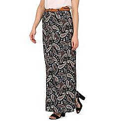 Izabel London - Black paisley print maxi skirt