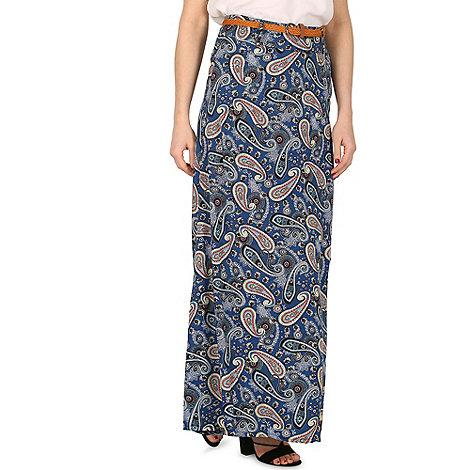 Izabel London - Navy paisley print maxi skirt