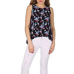 Izabel London - Navy floral print sleeveless top