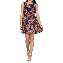 Apricot - Navy floral tie back dress
