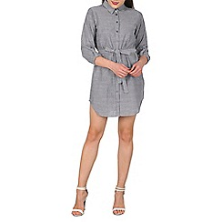 Apricot - Navy pinstripe shirt dress