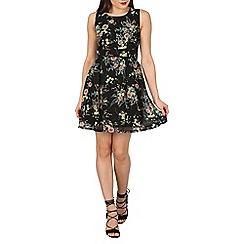 Apricot - Black floral corsage dress