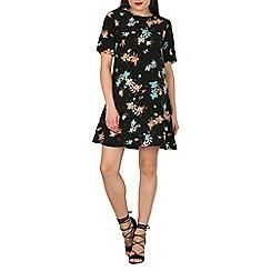 Apricot - Black floral shift dress