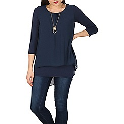 Apricot - Navy layered necklace top