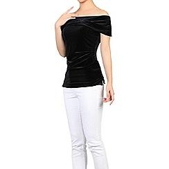Jolie Moi - Black bardot neck velvet top