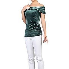 Jolie Moi - Bottle green bardot neck velvet top