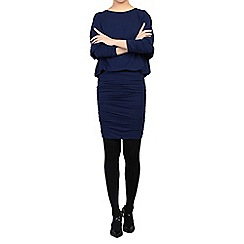Jolie Moi - Navy batwing ruched tunic
