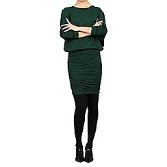 Jolie Moi - Dark green batwing ruched tunic
