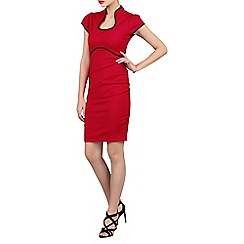 Jolie Moi - Red contrast trimmed high collar dress