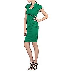 Jolie Moi - Green contrast trimmed high collar dress