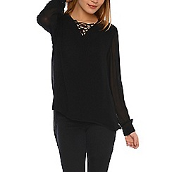Alice & You - Black sheer lace up blouse