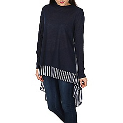 Blue Vanilla - Navy stripe chiffon dipped hem tunic top