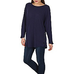 Blue Vanilla - Navy popper side button batwing top