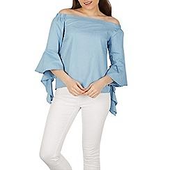 Izabel London - Light blue bell sleeves bardot style top