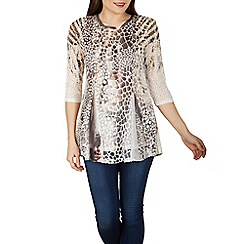 Izabel London - Chocolate abstract snake print top