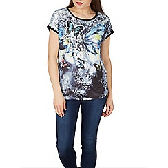 Izabel London - Black abstract butterfly print top