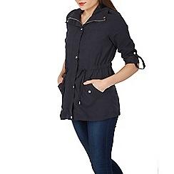 Izabel London - Navy zip jacket with waist tie