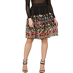 Izabel London - Black embroidered mesh mini skirt