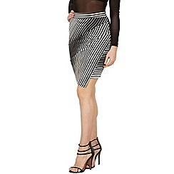 Izabel London - Black wrap style fitted stripe print skirt