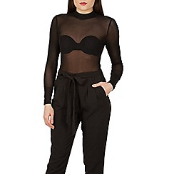Izabel London - Black polo neck mesh bodysuit