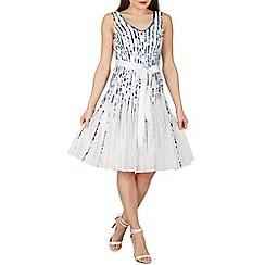 Izabel London - Blue floral stripe occasion dress