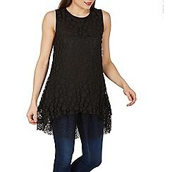Izabel London - Black layered spot fabric tunic top