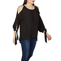 Izabel London - Black cold-shoulder tunic top
