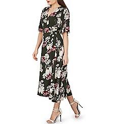 Izabel London - Green floral print wrap maxi dress