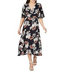 Izabel London - Navy floral print wrap maxi dress