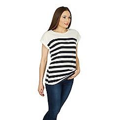 Izabel London - White roll sleeve breton t-shirt