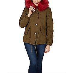 Izabel London - Red fur parka jacket