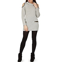 Izabel London - Light grey roll neck zip detail tunic dress