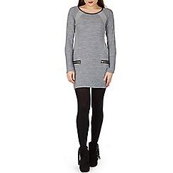 Izabel London - Navy long sleeve zip detail shift dress
