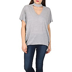 Blue Vanilla - Grey choker neck zip back oversized top