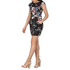Blue Vanilla - Black blossom floral pleats & pocket dress
