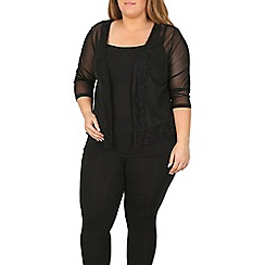 Samya - Black 3/4 length sheer lace trim cardigan