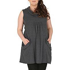 Samya - Dark grey sleeveless button detailed tunic dress
