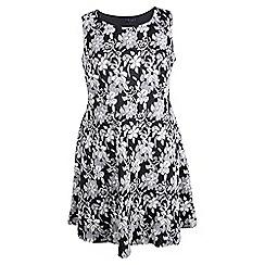 Samya - Black jacquard print skater dress