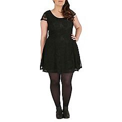 Samya - Black floral A-line lace dress