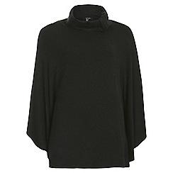 Samya - Black oversized collar poncho top